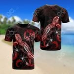 Tonga Polynesian Turtle Blooming Hibiscus Red All Over Print T-shirt