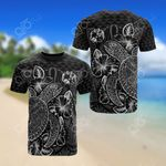 Tonga Polynesian Turtle Hibiscus Black All Over Print T-shirt