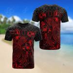 Tonga Polynesian Turtle Hibiscus Red All Over Print T-shirt