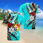 Tonga Tribal Flower Turtles Blue All Over Print T-shirt