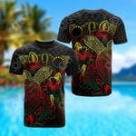Cook Islands Polynesian Turtle Hibiscus Reggae All Over Print T-shirt