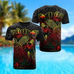 Papua New Guinea Polynesian Turtle Hibiscus Reggae All Over Print T-shirt
