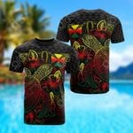 Wallis And Futuna Polynesian Turtle Hibiscus Reggae All Over Print T-shirt