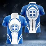 Greece Coat Of Arms 3D Form All Over Print Polo Shirt