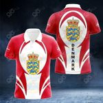Denmark Coat Of Arms 3D Form All Over Print Polo Shirt