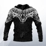 Aztec Mexico 3D Black And White All Over Print Hoodies