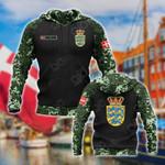 Custom Name Denmark Coat Of Arms Camo All Over Print Hoodies