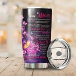 To My Mom Purple Butterfly Stainless Steel Tumbler Cup
