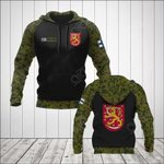 Custom Name Finland Coat Of Arms Camo All Over Print Hoodies