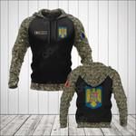 Custom Name Romania Coat Of Arms Camo All Over Print Hoodies