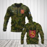 Custom Name Finland Camo Coat Of Arms All Over Print Hoodies