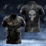 Customize French Army Armor Skull 3D All Over Print Polo Shirt