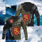 Custom Name Finland Coat Of Arms Sport Style All Over Print Hoodies