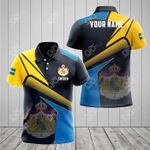Customize Sweden Proud With Coat Of Arms All Over Print Polo Shirt