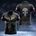 Customize Austrian Army Armor Skull 3D All Over Print Polo Shirt