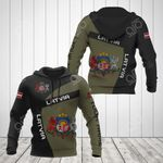 Custom Name Latvia Coat Of Arms Sport Style All Over Print Hoodies