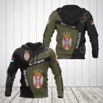 Custom Name Serbia Coat Of Arms Sport Style All Over Print Hoodies