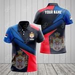 Customize Serbia Proud With Coat Of Arms All Over Print Polo Shirt
