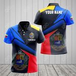 Customize Venezuela Proud With Coat Of Arms V2 All Over Print Polo Shirt