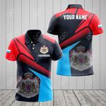 Customize Luxembourg Proud With Coat Of Arms All Over Print Polo Shirt