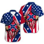 Ligerking™ Confederate Flag Short Sleeve Shirt  HD03529