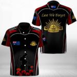 Ligerking™ Anzac Day Poppy Lest We Forget Short Sleeve Shirt HD3556