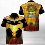 Ligerking™ Anzac Day Poppy Lest We Forget Short Sleeve Shirt HD03558