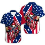 Ligerking™ Confederate Flag Short Sleeve Shirt  HD03530
