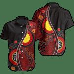 Ligerking™ Aboriginal Short Sleeve Shirt - Australia Flag Dot Painting Art HD03745