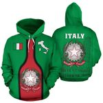Ligerking™ Italy Map Hoodie Wine Style - Colosseum and Tower of Pisa HD01895