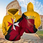 Ligerking™ Italy - Rome Special With Maltese Cross All Over Print Hoodies HD02123
