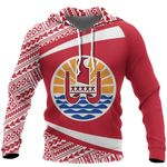 Ligerking™ French Polynesia Coat Of Arms Hoodie - Circle Red Ver 2.0 HD02045