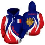Ligerking™ France Hoodie Coat Of Arms Fire Style HD02666