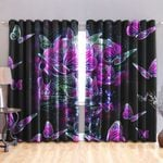 Skull Butterfly Blackout Thermal Grommet Window Curtains HD02470