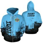 Ligerking™ Saint Lucia All Over Hoodie - Smudge Style HD02461
