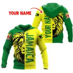 Ligerking™ Jamaica  Personalized Name Lion Hoodie HD02718