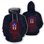 Ligerking™ Puerto Rico - Navi Blue Flag Hoodie 02137