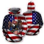 Ligerking™ Eagle Usa Flag 3D Hoodie HD02776
