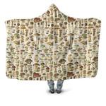 Edible Mushrooms Champignons Hooded Blanket 3902