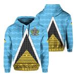 Ligerking™ Saint Lucia Flag Hoodie - Triangle Cerulean Blue HD02460