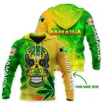 Ligerking™ Jamaica Skull Personalized Name Hoodie HD02996