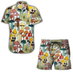 Ligerking™ Mushroom Short Sleeve Shirt, Beach Shorts HD04615