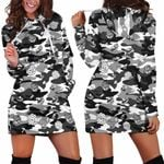 Black Camo Mushroom Hoodie Dress 3918