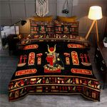 Hathor Egyptian Pattern In Gold And Red Bedding Set HD03172