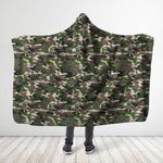 Green Forest Camo Mushroom Hooded Blanket 3917