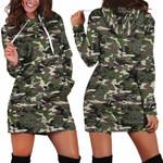 Green Forest Camo Mushroom Hoodie Dress 3917