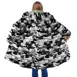 Black Camo Mushroom Hooded Coat 3918