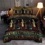Egyptian Gold Teal And Red Glass Pattern Bedding Set HD03167
