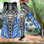 Ligerking™ Amazing Blue Polynesian Tank Top, Leggings 3D All Over Print HD04986