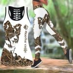 Ligerking™ Brown Collie Tattoos Tank Top, Leggings 3D All Over Print HD05334
